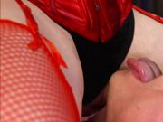 Femdom in red stockings riding cock