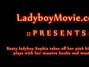 Phuket Ladyboy Sophia strips and strokes