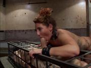 Slave in cage anal fucks brunette slut