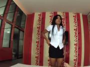 Ladyboy Schoolgirl Nan Gives A Blowjob