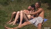 Sun-Kissed MMF Enjoy Banging Picnic Near The Lake