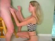 amatuer blonde gives handjob