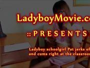 Ladyboy Schoolgirl Pat Wanking