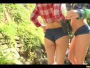 Amazing Brunette Lesbians Jada & Kristina Tongue One Another Outdoors