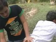 Hot stud latino cumswapping outdoors