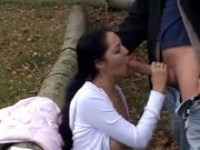 Brunette gets a big one in public