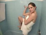 hot girl plays in the bathtub