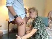 blonde granny pleasures 2 cocks