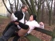 Old flasher fuck young girl in park