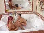 Skinny lesbians bathe eachother