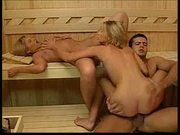 Super steamy sauna threesome