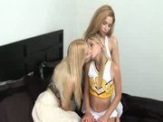 Milf and friend tease and lick cheerleader