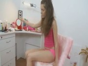 Lovely brunette teasing body herself