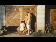 Threesome of nasty Russian teenagers outdoor