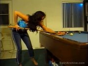 Hot lesbian action on pool table