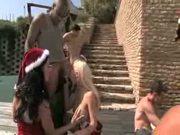 Sexy Santa patio gang bang