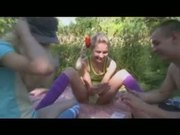 Three teenagers pleasuring each other in the forest