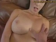 Teen with huge honkers jerks dick