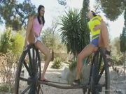 Two amateur girls peeing outdoor