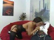 Busty ebony babe Alicia takes a long cock