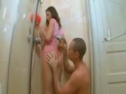 Ultra hot deepthroat in a shower