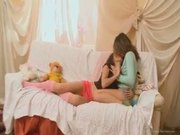 Teenage lesbians kissing and rubbing