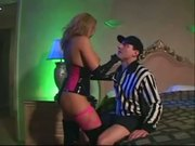 Milf fucking in fencenet stockings latex corest and gloves