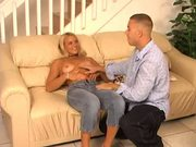 Sexy blonde works hard for her money