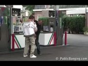Public - public sex threesome with a pregnant woman at a gas station