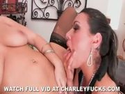 Charley Chase and Natasha Nice fuck a huge double dildo
