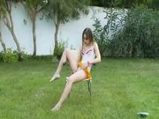 Brunette having fun outside