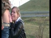 Blonde Gets Face-Fucked Next To Highway