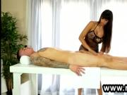 Raven haired penis masseuse