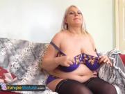 EuropeMature BBW blonde Sami masturbates solo