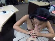 Pretty brunette babe gets railed by nasty pawn keeper