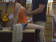 Babe in glasses pounded by pawn keeper at the pawnshop