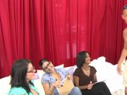 Clothed femdom queens mock and judge