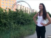 Slim amateur brunette Eurobabe fucked in public for money
