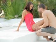Hot brunette teen slut Bianca asshole fucked outdoors