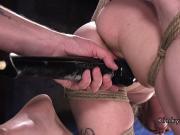 Hogtied and suspended slave got fingered
