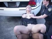Two cougar police officers sharing fat black cock outdoors