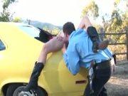 Big-Titted Teen Sucks Cop