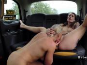 Tattooed female fake taxi lesbian licks blonde