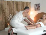 Masseur bangs tattooed blonde massage european
