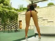 Big juggs Kyra asshole ripped real deep by the poolside