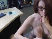 Hot babe with glasses banged by pawn guy at the pawnshop