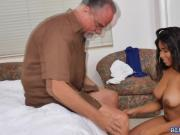 Sexy ebony nurse Jenna bangs two aged cock