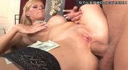 Classy blonde whore paid for ass to mouth