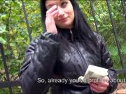 Eurobabe Rosalinda gets railed in public for a chunk of cash