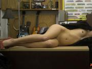 Adorable babe in fur coat gets drilled at the pawnshop